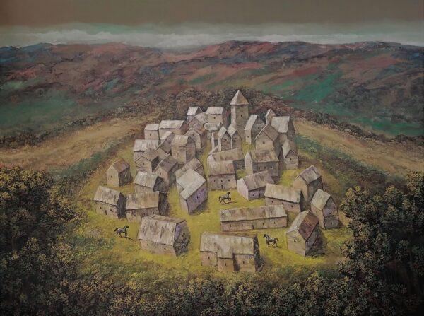 Juan Rodrigo Piedrahita Escobar. Town. Acrylic on canvas